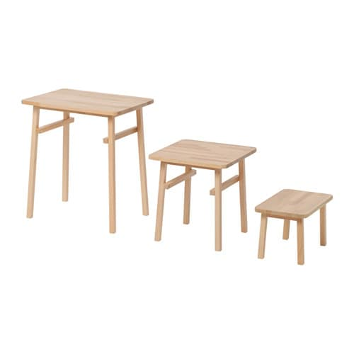 Ypperlig Nest Of Tables Set Of 3 Beech Ikea