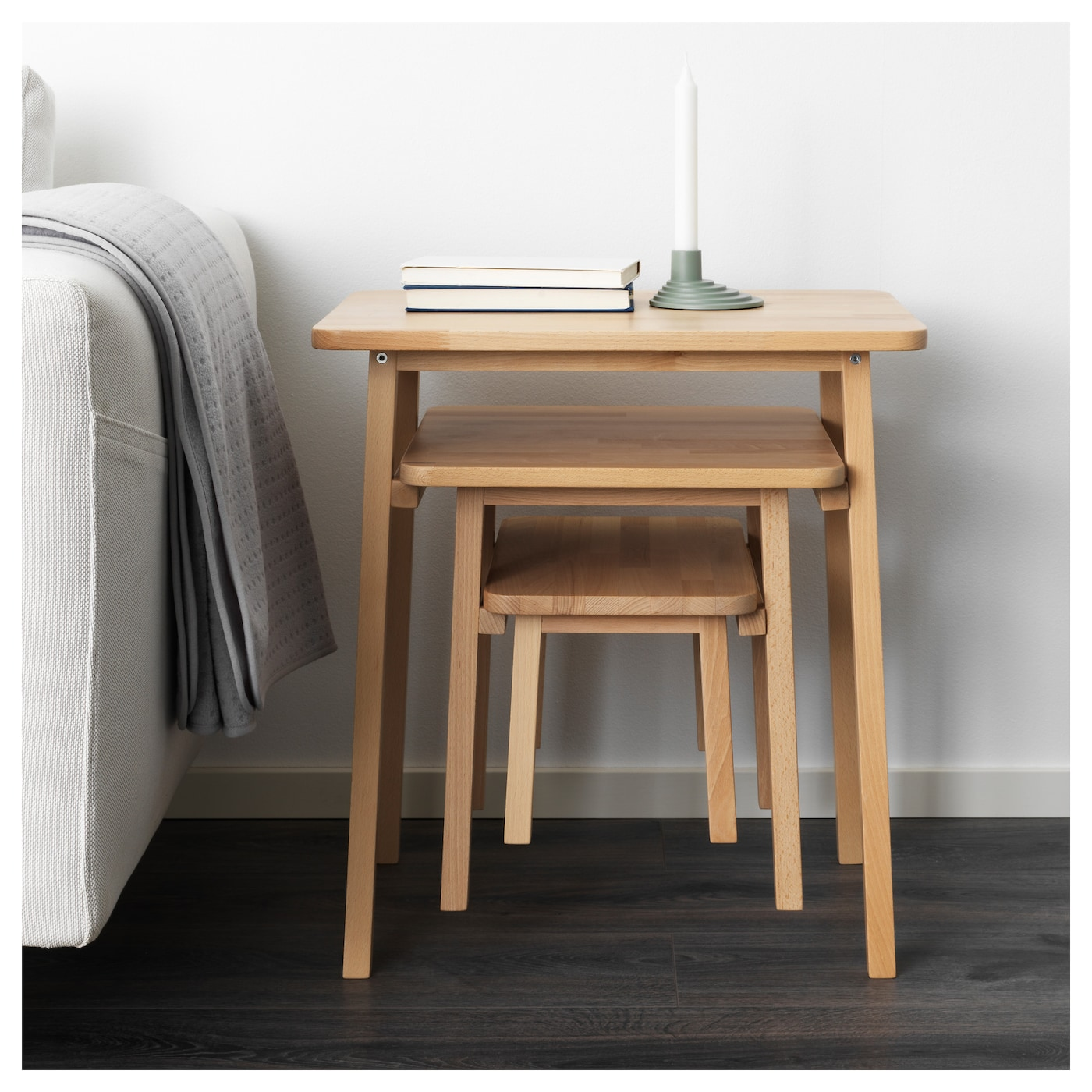 IKEA YPPERLIG nest of tables, set of 3 Solid beech is a hard-wearing natural material.