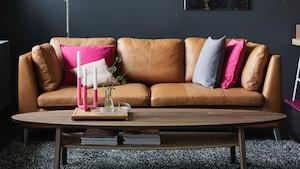 Leather three-seat sofas