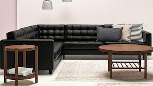 Canapés d'angle modulables en cuir/tissu enduit