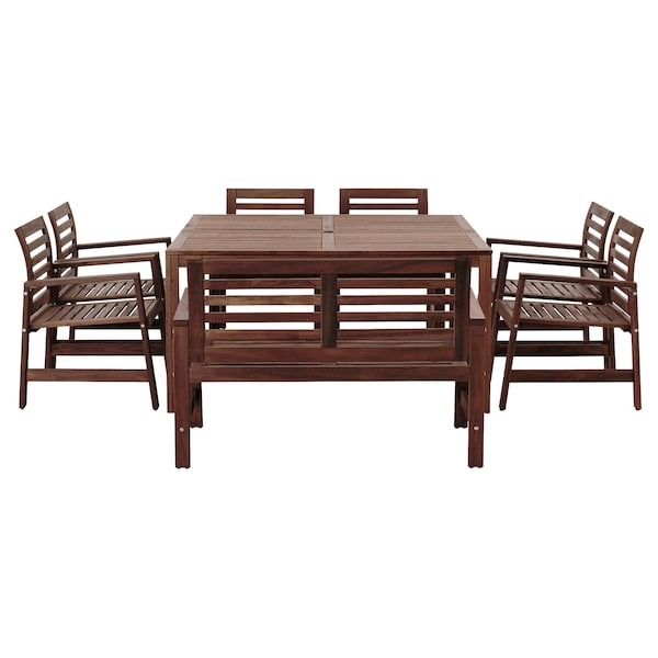 ÄPPLARÖ Stol/6 stolica/klupa, vanjski, smeđi bajc