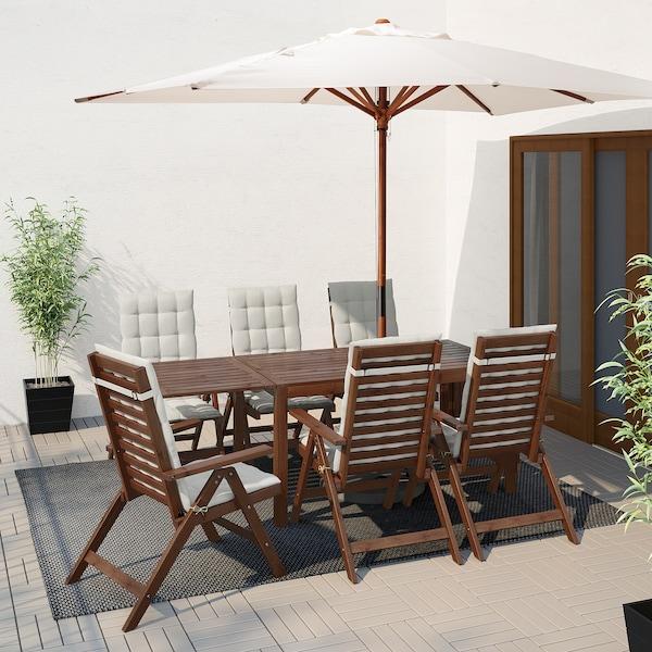 ÄPPLARÖ Stol i 6 stolica s pod nasl, vanjs, smeđi bajc/Hållö bež