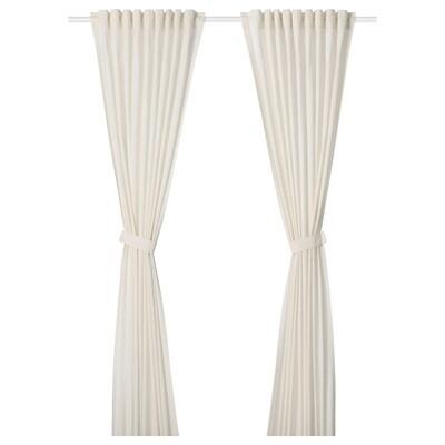 AMILDE Zavjese s vezicama, 1 par, bijela, 145x300 cm