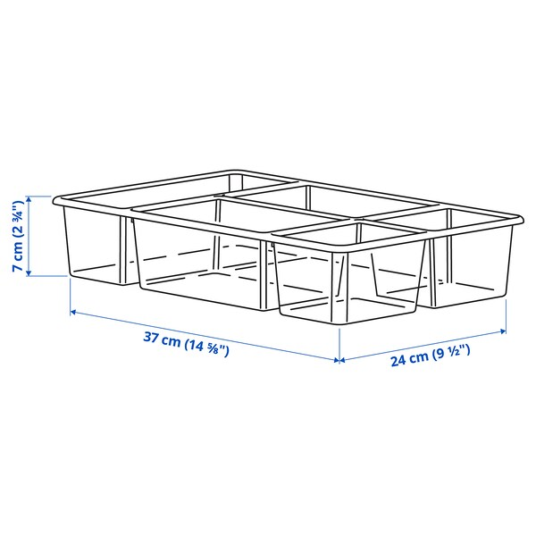 ANTONIUS Umetak za košaru, transparentna, 37x24x7 cm