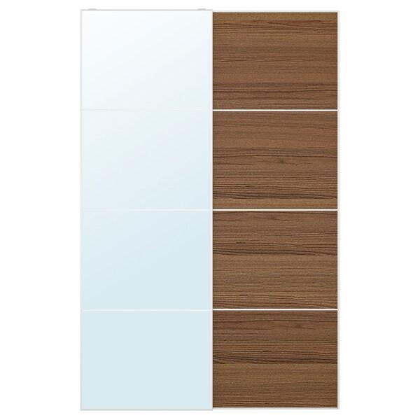 AULI / MEHAMN Par kliznih vrata, zrcalno staklo/smeđe bajcani efekt jasena, 150x236 cm