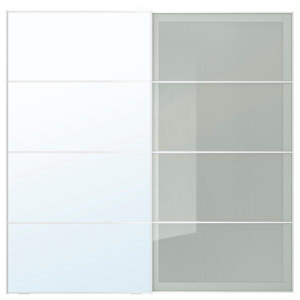AULI / SEKKEN Par kliznih vrata, zrcalno staklo/mliječno staklo, 200x201 cm
