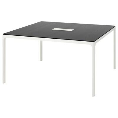 BEKANT konferencijski stol crno bajcani jasenov furnir/bijela 140 cm 140 cm 73 cm 100 kg