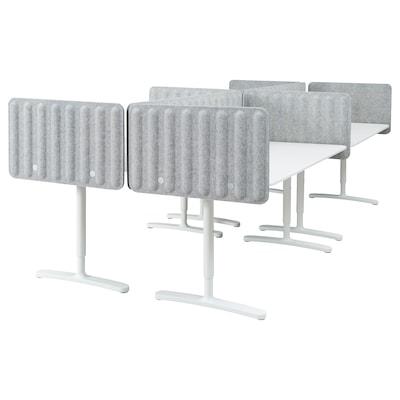 BEKANT radni stol+paravan bijela/siva 48 cm 320 cm 160 cm 100 kg