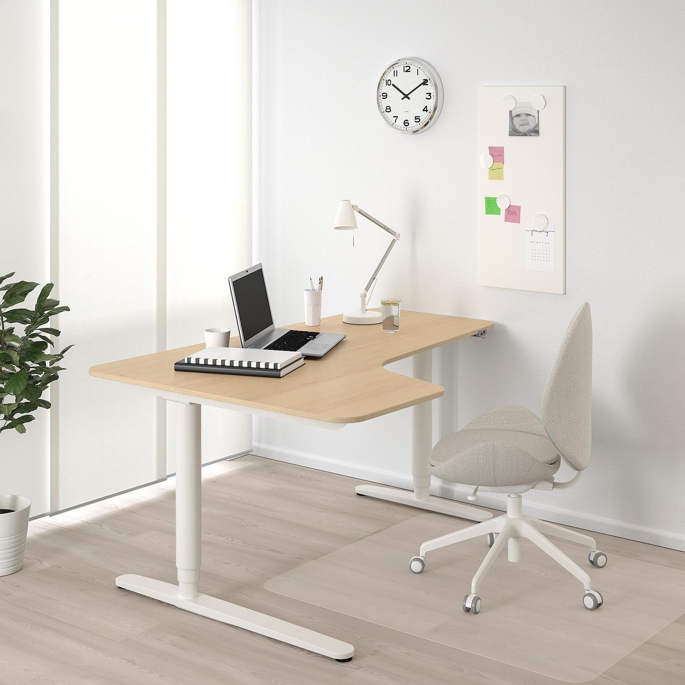 BEKANT Kutni radni stol, sjed/staj L, bijelo bajcani hrastov furnir/bijela, 160x110 cm