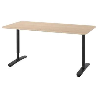 BEKANT Radni stol, bijelo bajcani hrastov furnir/crna, 160x80 cm