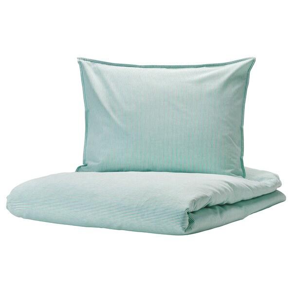 BERGPALM navlaka i jastučnica bijela/zelena/crta 118 inc² 1 kom 200 cm 150 cm 50 cm 60 cm