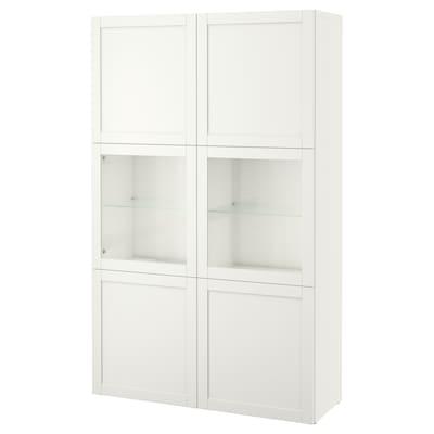 BESTÅ Komb/odlaganje+staklena vrata, bijela Hanviken/Sindvik bijelo prozirno staklo, 120x42x193 cm