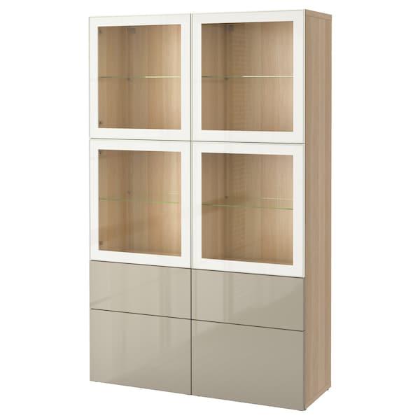 BESTÅ Komb/odlaganje+staklena vrata, efekt bijelo bajcanog hrasta/Selsviken visoki sjaj/bež prozirno staklo, 120x40x192 cm