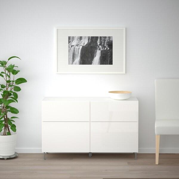 BESTÅ Komb/odlaganje+vrata/ladice, bijela/Selsviken/Stallarp visoki sjaj/bijela, 120x40x74 cm
