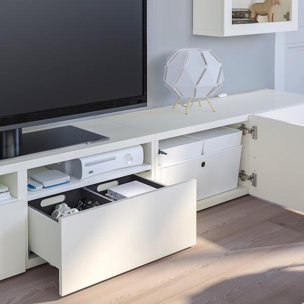 BESTÅ Komb/TV,staklena vrata, bijela/Lappviken bijelo prozirno staklo, 240x42x190 cm