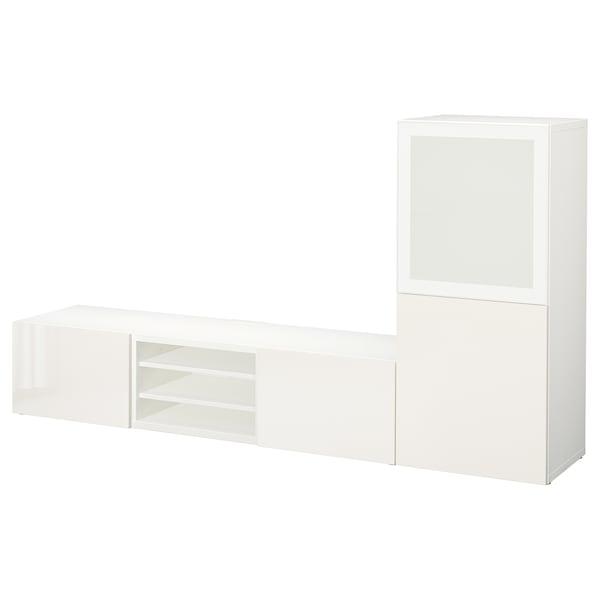 BESTÅ Komb/TV,staklena vrata, bijela/Selsviken visoki sjaj/bijelo mliječno staklo, 240x42x129 cm