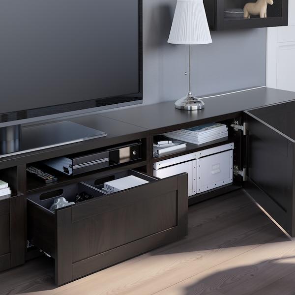 BESTÅ Komb/TV,staklena vrata, crno-smeđa/Hanviken crno-smeđe prozirno staklo, 240x42x190 cm