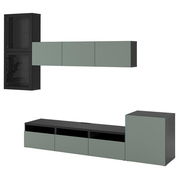 BESTÅ Komb/TV,staklena vrata, crno-smeđa/Notviken sivo-zeleno prozirno staklo, 300x42x211 cm