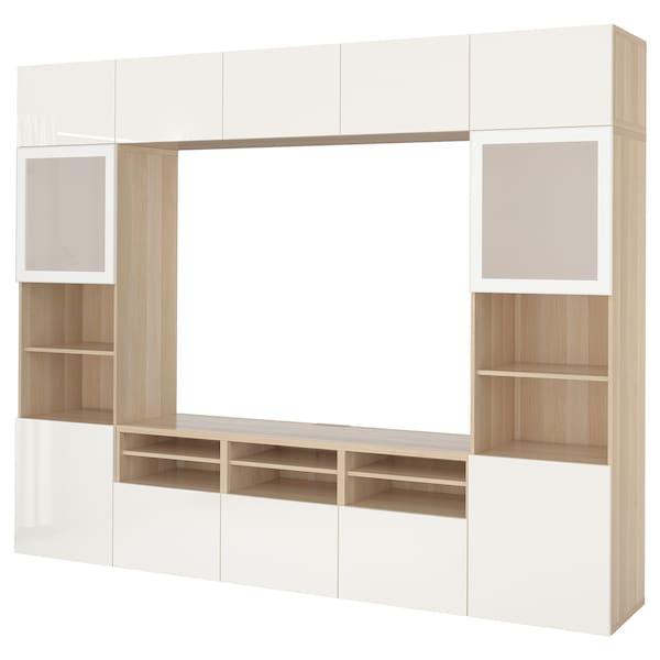 BESTÅ Komb/TV,staklena vrata, efekt bijelo bajcanog hrasta/Selsviken visoki sjaj/bijelo mliječno staklo, 300x40x230 cm