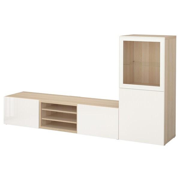 BESTÅ Komb/TV,staklena vrata, efekt bijelo bajcanog hrasta/Selsviken visoki sjaj/bijelo prozirno staklo, 240x42x129 cm