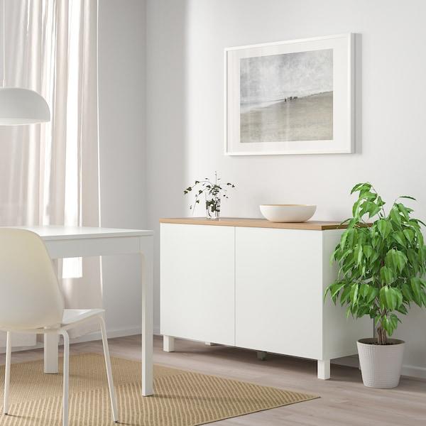 BESTÅ Komb za odlaganje s vratima, bijela/Lappviken/Stubbarp bijela, 120x42x76 cm