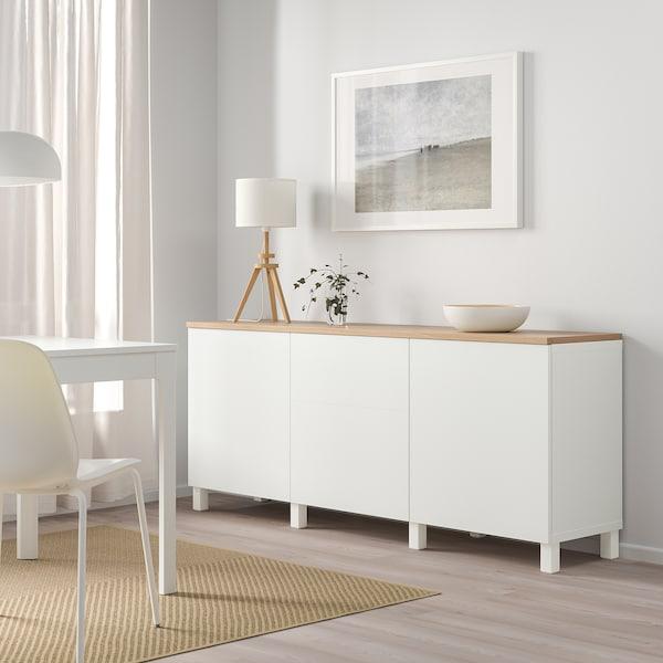 BESTÅ Komb za odlaganje s vratima, bijela/Lappviken/Stubbarp bijela, 180x42x76 cm