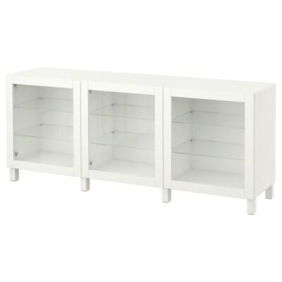 BESTÅ Komb za odlaganje s vratima, bijela/Sindvik/Stubbarp bijelo prozirno staklo, 180x42x74 cm
