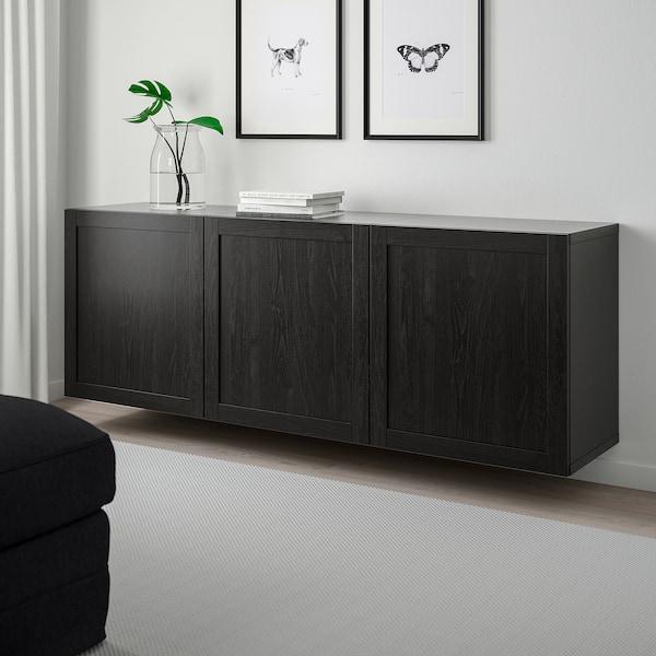 BESTÅ Kombinacija zidnih elemenata, crno-smeđa/Hanviken crno-smeđa, 180x42x64 cm
