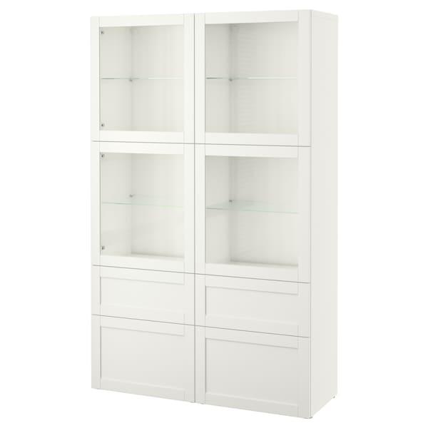 BESTÅ komb/odlaganje+staklena vrata Hanviken/Sindvik bijelo prozirno staklo 120 cm 40 cm 192 cm