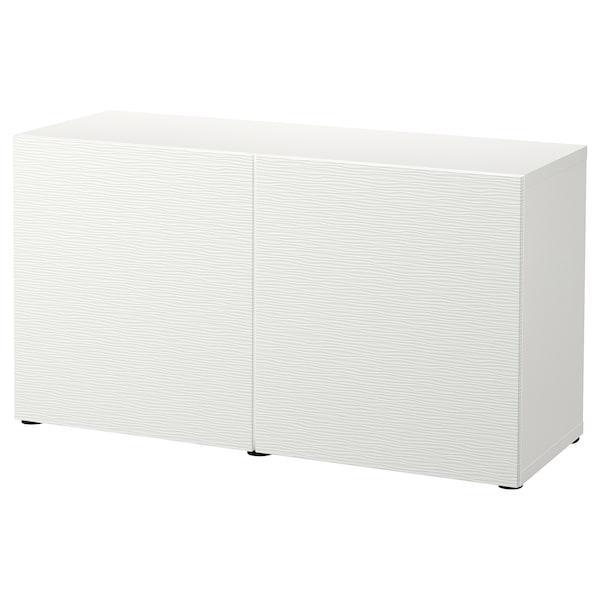 BESTÅ komb za odlaganje s vratima bijela/Laxviken bijela 120 cm 42 cm 65 cm