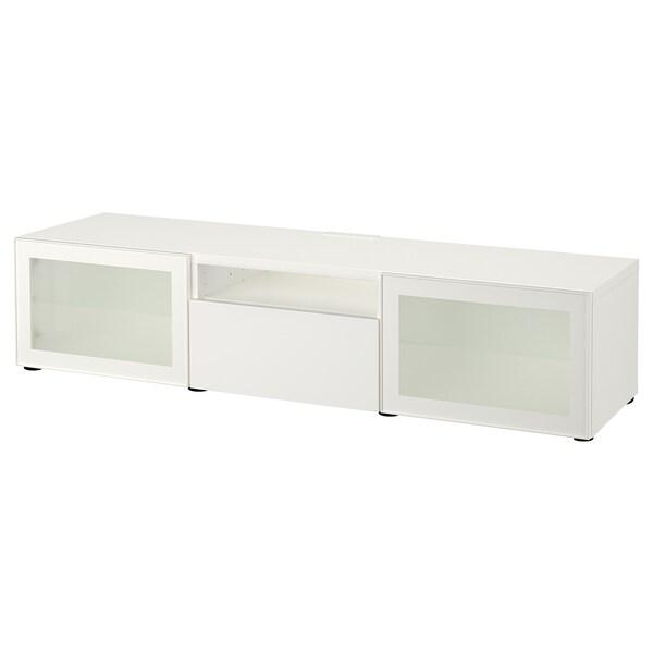 BESTÅ TV klupa, bijela/Selsviken visoki sjaj/bijelo mliječno staklo, 180x42x39 cm