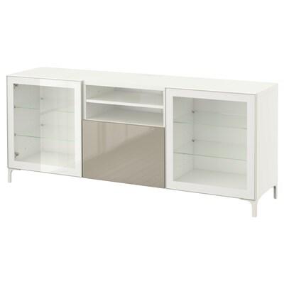 BESTÅ TVklupa+ladice, bijela/Selsviken/Nannarp visoki sjaj/bež prozirno staklo, 180x42x74 cm