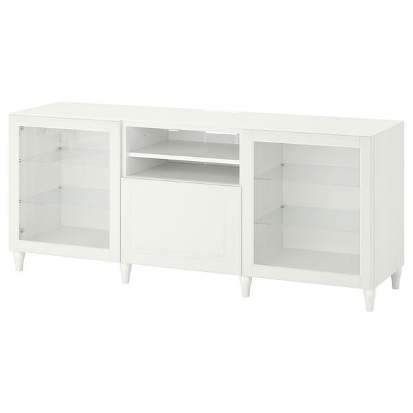 BESTÅ TVklupa+ladice, bijela/Smeviken/Kabbarp bijelo prozirno staklo, 180x42x74 cm
