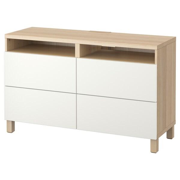 BESTÅ TVklupa+ladice, efekt bijelo bajcanog hrasta/Lappviken bijela, 120x40x74 cm