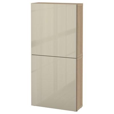 BESTÅ Zidni element+2 vrata, efekt bijelo bajcanog hrasta/Selsviken visoki sjaj/bež, 60x22x128 cm