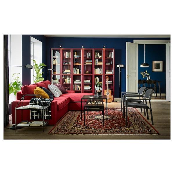 BILLY Biblioteka sa staklen vratima, tamnocrvena, 80x30x202 cm