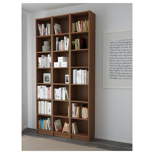 BILLY Biblioteka, smeđa jasenov furnir, 120x28x237 cm