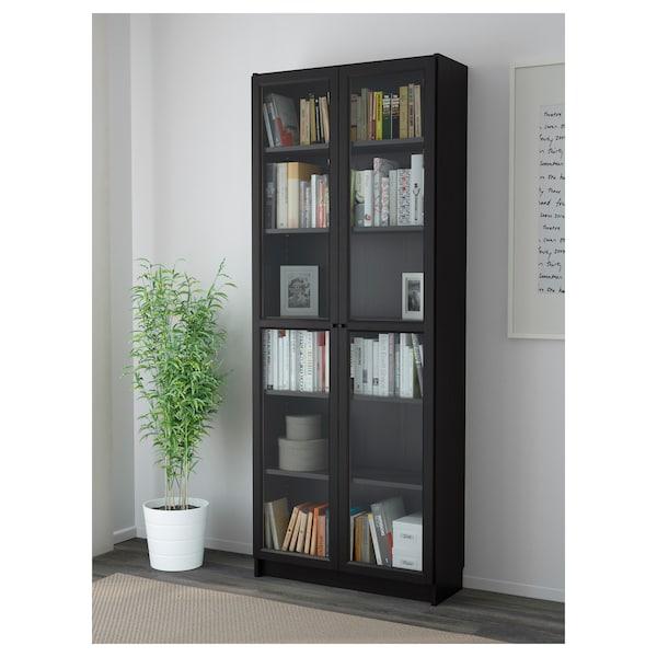 BILLY / OXBERG Biblioteka, crno-smeđa, 80x30x202 cm
