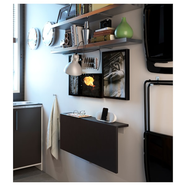 BJURSTA Zidni preklopni stol, smeđe-crna, 90x50 cm