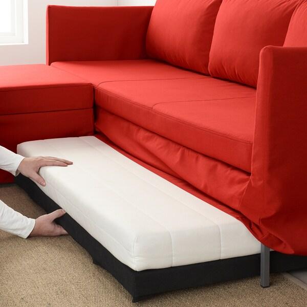 BRÅTHULT Kutna sofa na razvlačenje, Vissle crvena/narančasta
