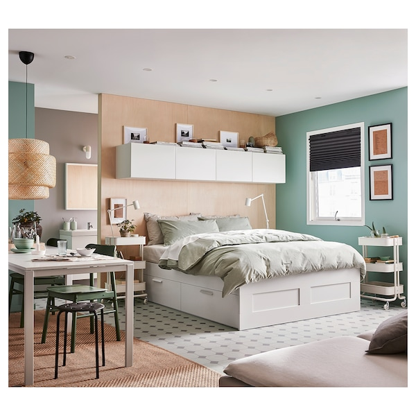 BRIMNES Okvir kreveta+odlaganje, bijela/Lönset, 160x200 cm