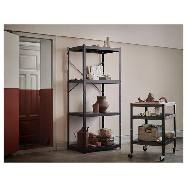 BROR Kolica, crna/borova šperploča, 85x55 cm