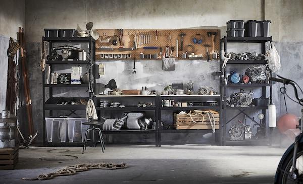 BROR Radna klupa, crna/borova šperploča, 110x55 cm
