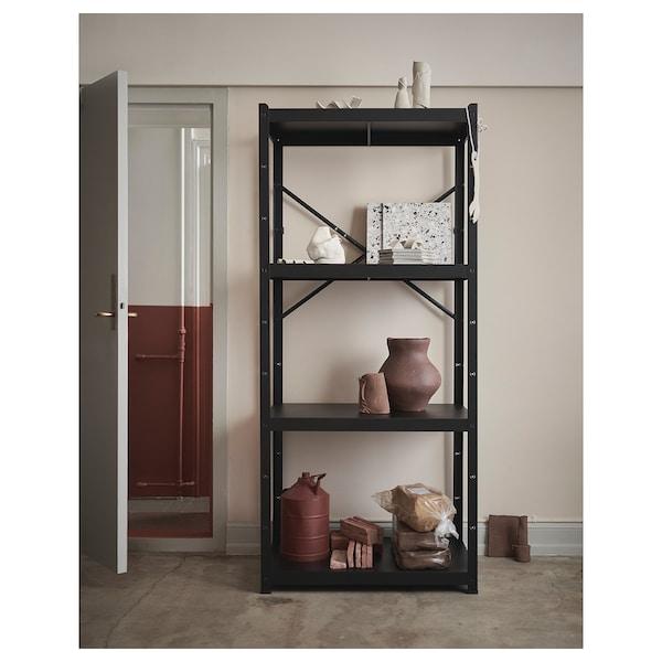 BROR Regal, crna, 85x55x190 cm