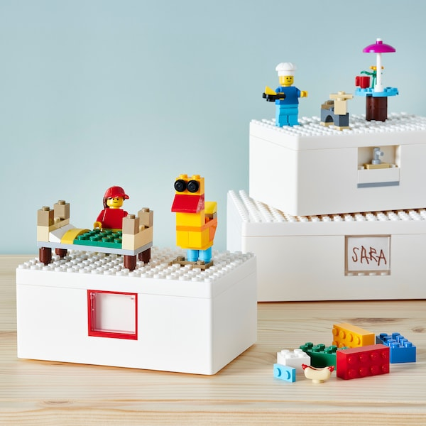 BYGGLEK LEGO® kutija s poklopcem, 3 kom, bijela