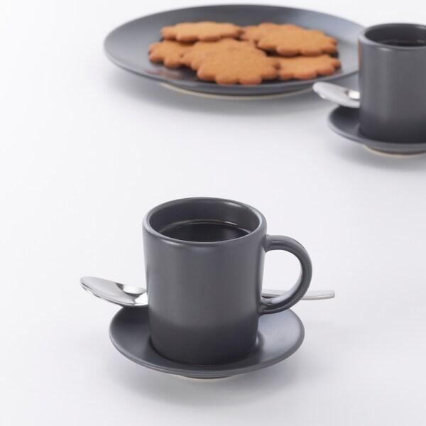 DINERA Šalica i tanjurić za espresso, tamnosiva, 9 cl