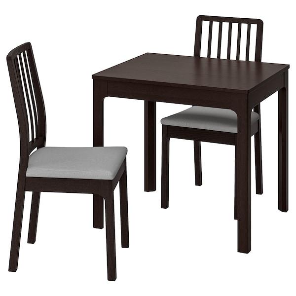 EKEDALEN / EKEDALEN Stol+2 stolice, tamnosmeđa/Orrsta svijetlosiva, 80/120 cm