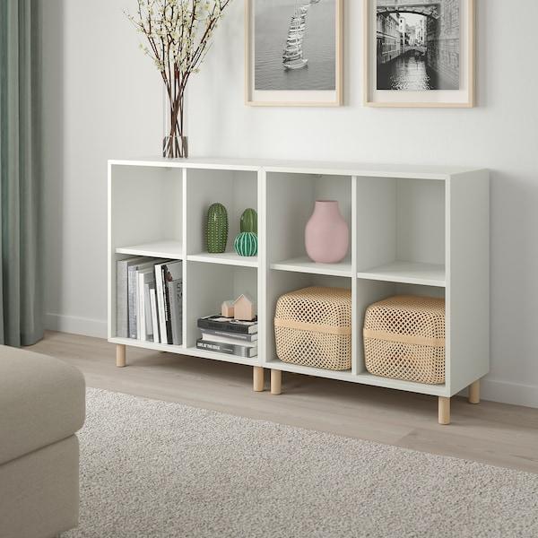 EKET Kombinacija elemenata s nogama, bijela/drvo, 140x35x80 cm