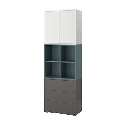 EKET Kombinacija elemenata s nogama, bijela/sivo-tirkizna tamnosiva, 70x35x212 cm