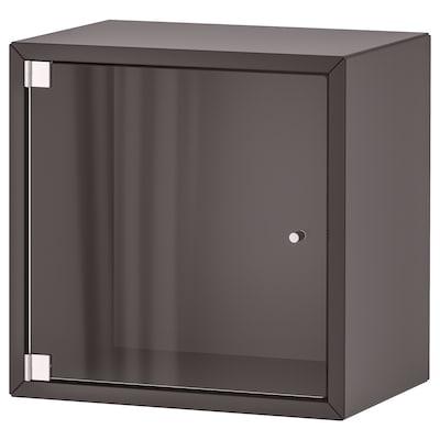 EKET Zidni element+1 staklena vrata, tamnosiva, 35x25x35 cm